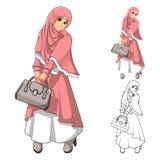Мусульманская мода девушки нося зеленые вуаль или шарф с желтой курткой и ботинками иллюстрация штока