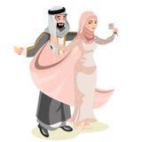 Мусульманская свадьба, жених и невеста иллюстрация вектора