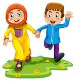 Мусульманские мальчик и девушка бесплатная иллюстрация
