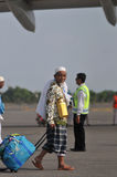 Мусульманские паломники приехали в Индонезию после закончили ежегодное haj Стоковая Фотография