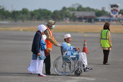 Мусульманские паломники приехали в Индонезию после закончили ежегодное haj Стоковые Изображения