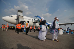 Мусульманские паломники приехали в Индонезию после закончили ежегодное haj Стоковая Фотография RF