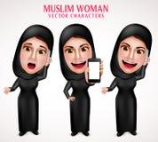 Мусульманский набор символов вектора женщины проводя мобильный телефон и вызывать Стоковая Фотография RF