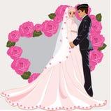 Мусульманский шарж свадьбы иллюстрация штока