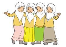 Мусульманское азиатское приятельство маленьких девочек Стоковые Фотографии RF