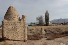 Мусульманское кладбище в Kochkor, Кыргызстане Стоковая Фотография