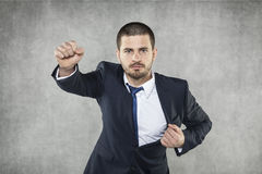 Муха, бизнесмен супергерой стоковая фотография rf