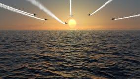Муха двигателя сверх на заходе солнца Стоковое Фото