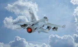 Муха в небе, американский воинский штурмовик F-16 двигателя Армия США Стоковое Изображение