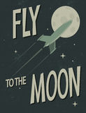 Муха космического корабля к луне иллюстрация вектора