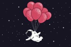 Муха космонавта с много воздушных шаров иллюстрация штока