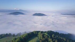 Муха над былинными облаками в утре лета Гипер промежуток времени акции видеоматериалы