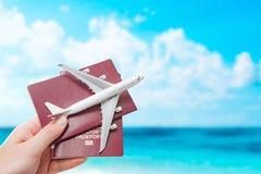 Муха полета пасспорта путешествуя концепция подданства перемещения стоковое изображение