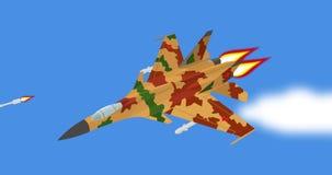 Муха реактивного истребителя шаржа русская советская в голубом небе сток-видео