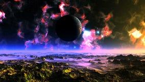 Муха UFO вокруг планеты чужеземца видеоматериал