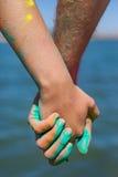 Мучит holi на руках Стоковое фото RF