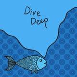 Мудрые рыбы шаржа с девизом vector серия illustrationa места для текста, рамки текста или пузыря речи Стоковые Изображения RF