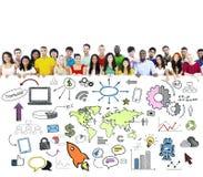 Мульти-этническая сеть Social группы стоковое фото rf