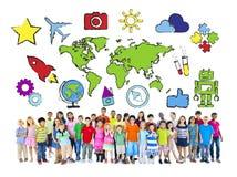 Мульти-этнические дети с мировоззренческой доктриной иллюстрация вектора