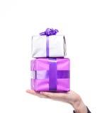 Мыжская рука держит серебряный и пурпуровый подарок Стоковые Фотографии RF