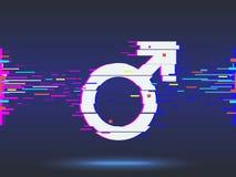 мыжской символ дизайн небольшого затруднения, неоновый значок, абстрактный вектор предпосылки Стоковое фото RF