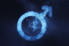 Мыжской символ секса Абстрактная предпосылка ночного неба Стоковая Фотография