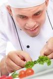 Мыжской шеф-повар украшая Стоковая Фотография RF