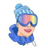 мыжской лыжник портрета иллюстрация штока