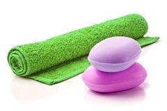 Мыла с полотенцем. Стоковая Фотография