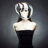мыло девушки пузыря стоковое изображение rf