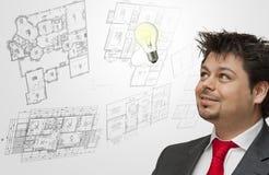 мысли идей инженера Стоковые Изображения