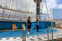Мыс Канаверал, США - 29-ое апреля 2018: Амфитеатр театра Aqua на вкладыше круиза или оазисе корабля морей королевским Стоковое Изображение