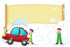 мытье автомобиля знамени Стоковое фото RF