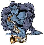 Мышечная горилла шаржа играя саксофон Стоковые Фото