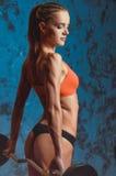 Мышечная женщина фитнеса, здоровый образ жизни, культурист креста подходящий, атлетическое тело ` s, конец вверх детенышей с штан Стоковые Изображения RF