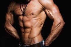 Мышечный и сексуальный торс молодого человека спорта Стоковые Изображения RF