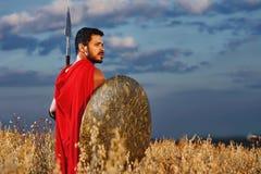 Мышечный средневековый ратник стоя в поле Стоковая Фотография