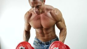 Мышечный человек работая плеча с гантелями сток-видео