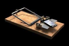 Мышеловка с телефоном на черноте Стоковая Фотография