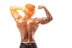 Мышцы сильного атлетического фитнеса человека модельные представляя задние, трицепс o стоковое изображение