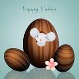 Мышь в пасхальном яйце шоколада Стоковая Фотография