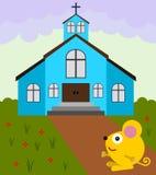 Мышь идет к церков иллюстрация вектора