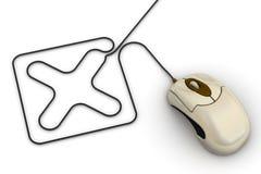 Мышь компьютера и метка x иллюстрация штока