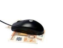 Мышь компьютера на банкнотах евро изолированных на белизне Стоковое Изображение RF