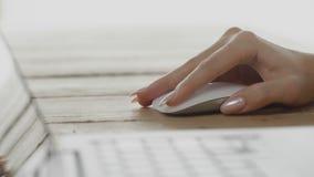 Мышь компьютера пользы руки женщины на таблице офиса сток-видео