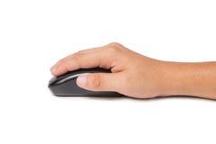 Мышь компьютера руки щелкая на белой предпосылке Стоковая Фотография RF