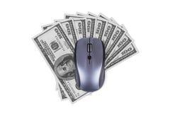 Мышь компьютера с 100 банкнотами доллара Стоковое Изображение