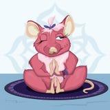 Мышь сидя в волосах asana и дуновений от его наблюдает Стоковые Изображения