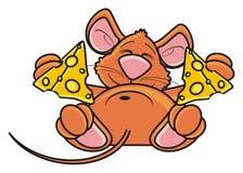 Мышь спать и обнимая двухкусочная сыра Стоковая Фотография