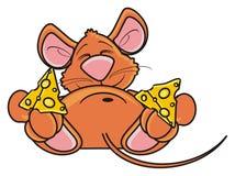 Мышь спать и обнимая двухкусочная сыра Стоковые Фото